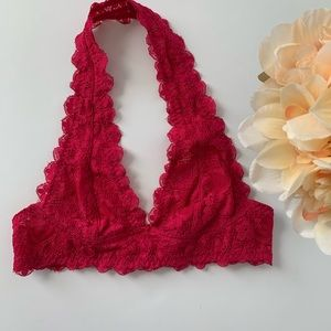 Intimately Free People Red Lace Bralette